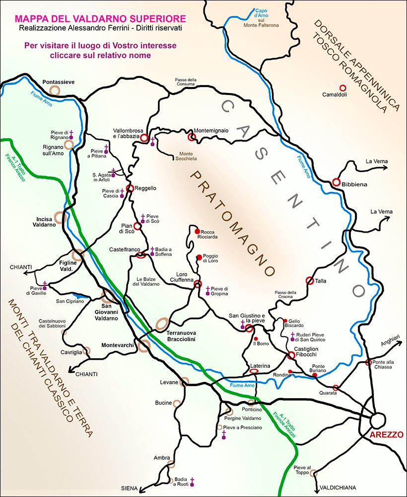Fiumi Toscana Cartina.Mappa Valdarno Cartina Dei Luoghi