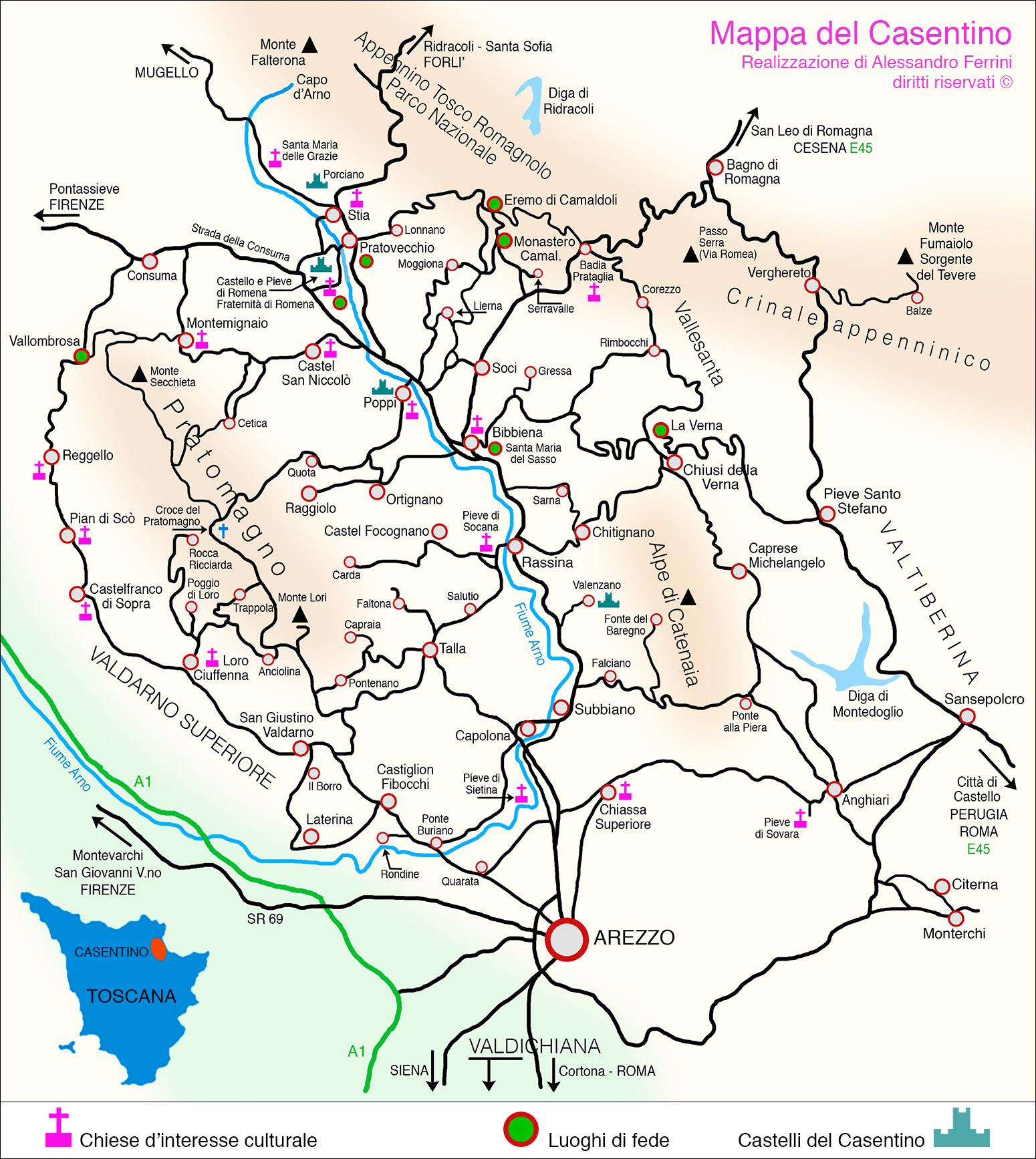 Cartina Geografica Di Arezzo.Mappa Del Casentino Dove Si Trova E Come Arrivare Cartina